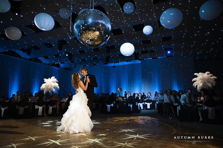 Bride and groom first dance Seawell Ballroom wedding at the DCPA Denver Center for the Performing Arts