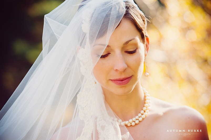 bridal portrait with veil in vail colorado sonnenalp betty ford alpine gardens