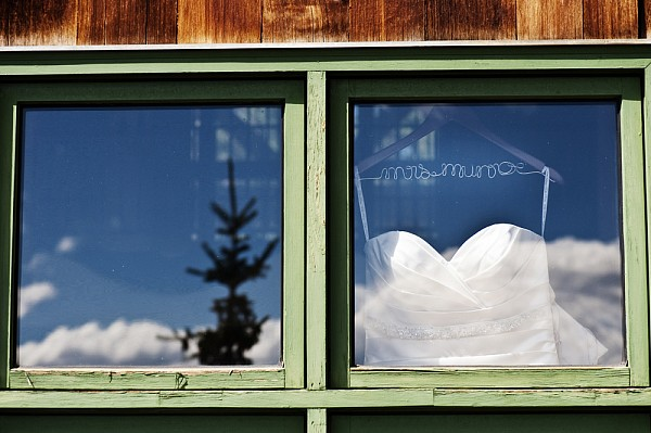 keystone ranch colorado mountain wedding dress in window