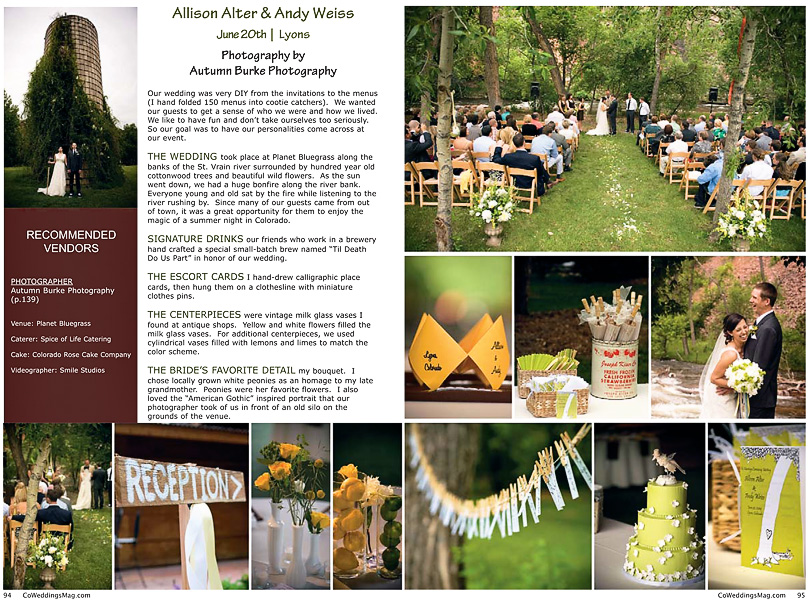 colorado real wedding magazine feature