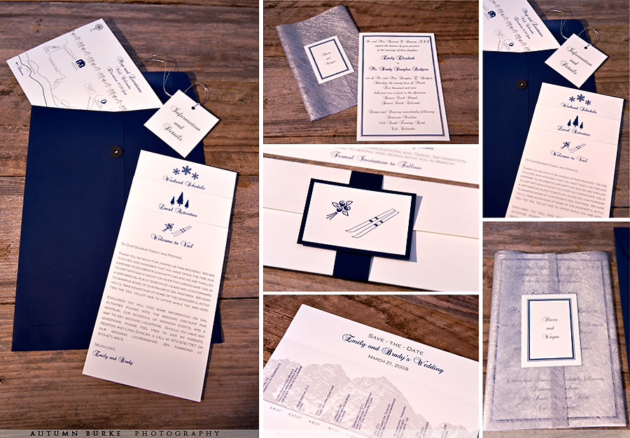 custom design winter vail wedding stationary