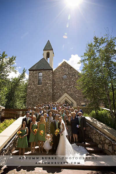 beaver creek chapel colorado wedding group shot