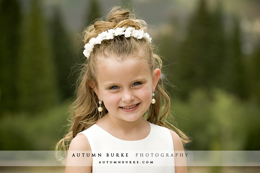 colorado mountain wedding flower girl