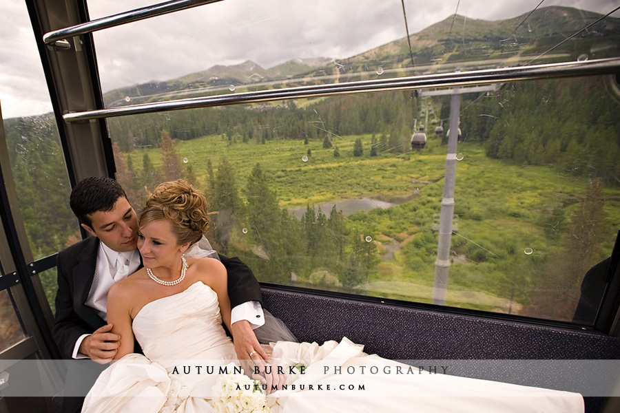mountain wedding colorado bride groom gondola breckenridge