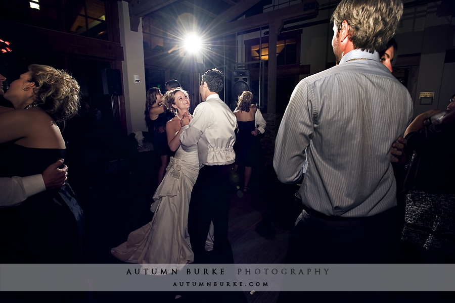colorado mountain wedding reception bride groom dance floor