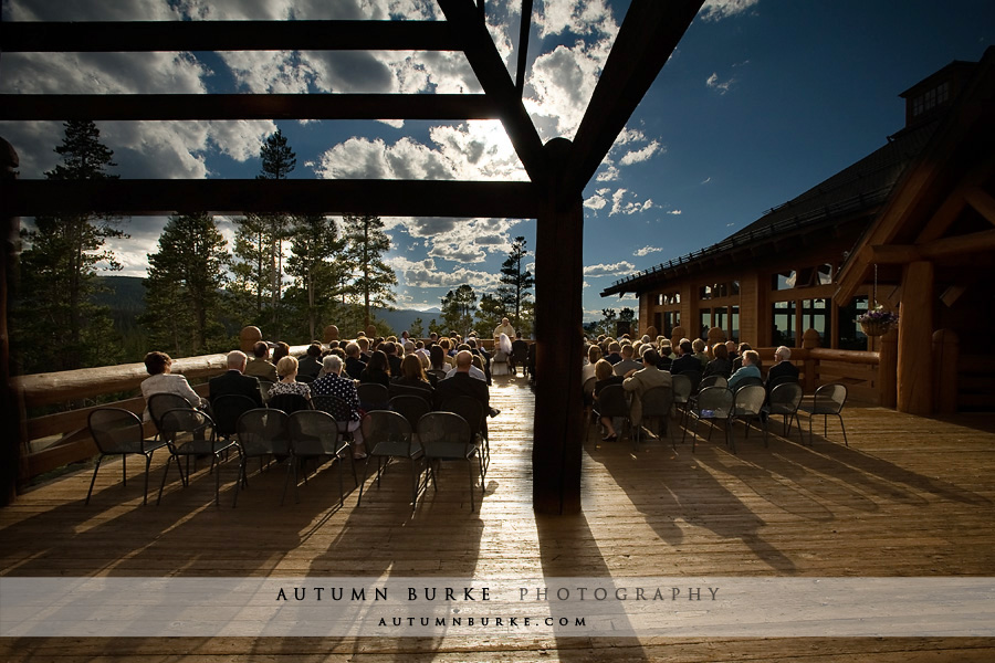 lodge at sunspot winter park colorado mountain wedding ceremony