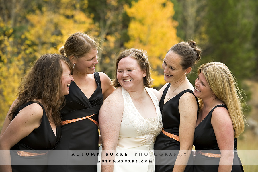 colorado estes park bride with bridesmaids