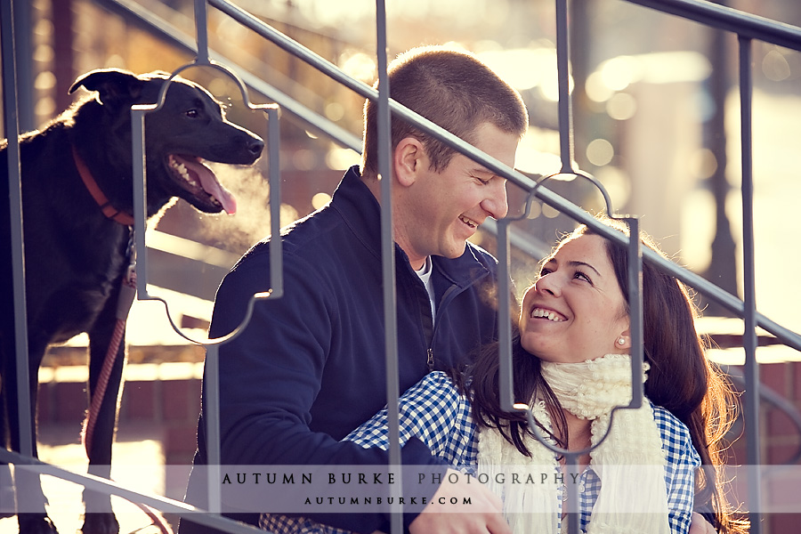 downtown denver colorado engagement portrait session dog