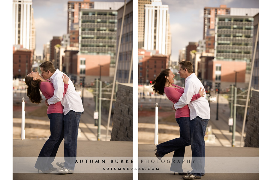 downtown denver colorado lodo milennium bridge engagement session