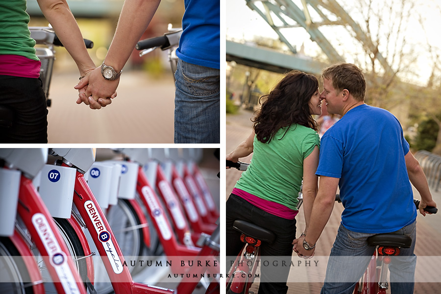 downtown denver b cycle wedding engagement portrait session