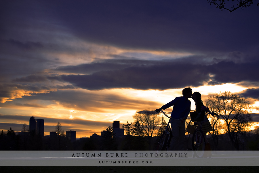 city park denver engagement session sunset silhouette