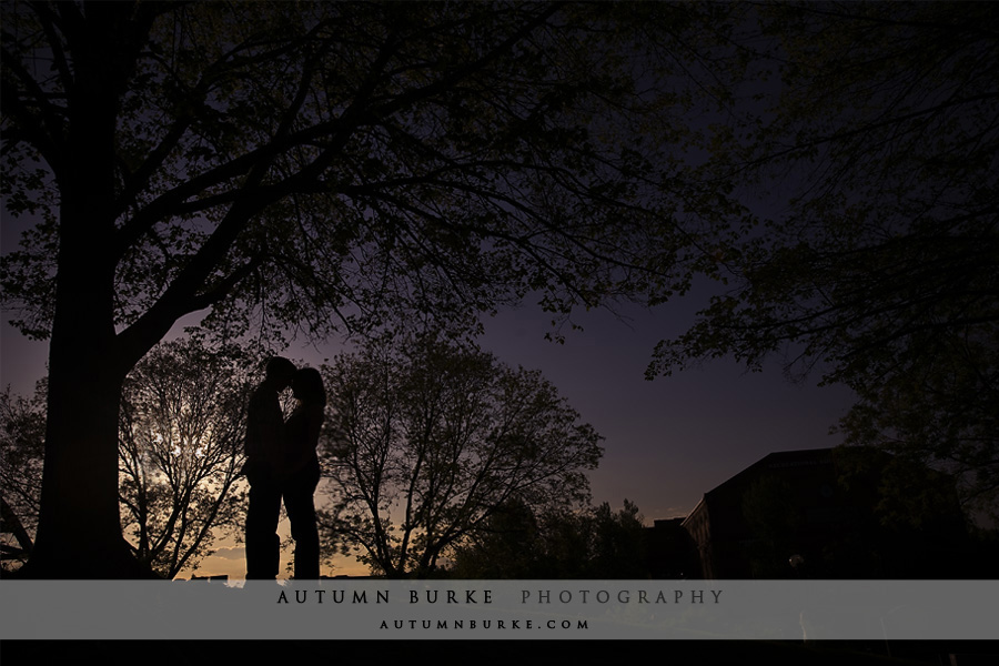 denver colorado engagement session silhouette