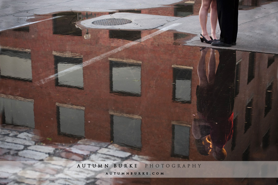 denver colorado urban engagement portrait session reflection puddle