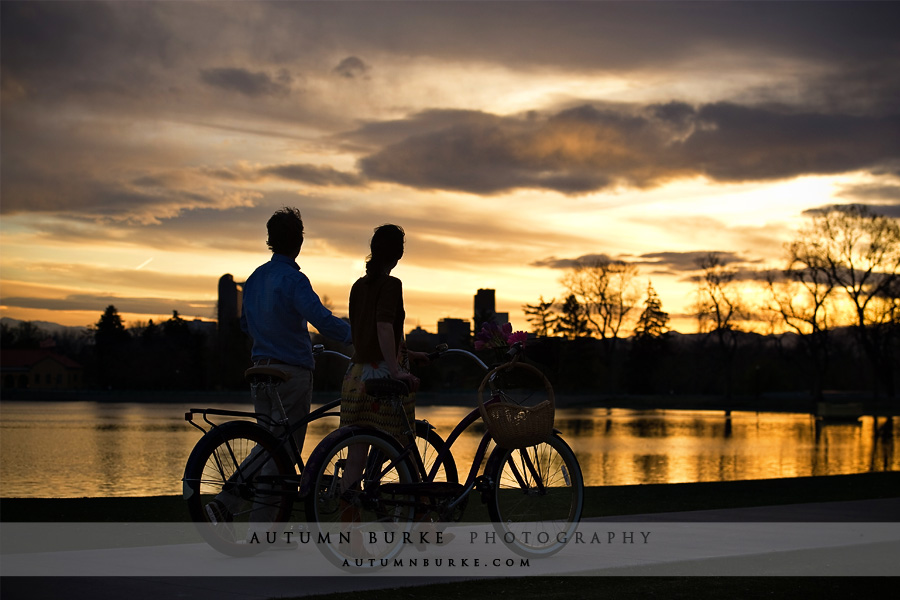 denver colorado city park sunset engagement session