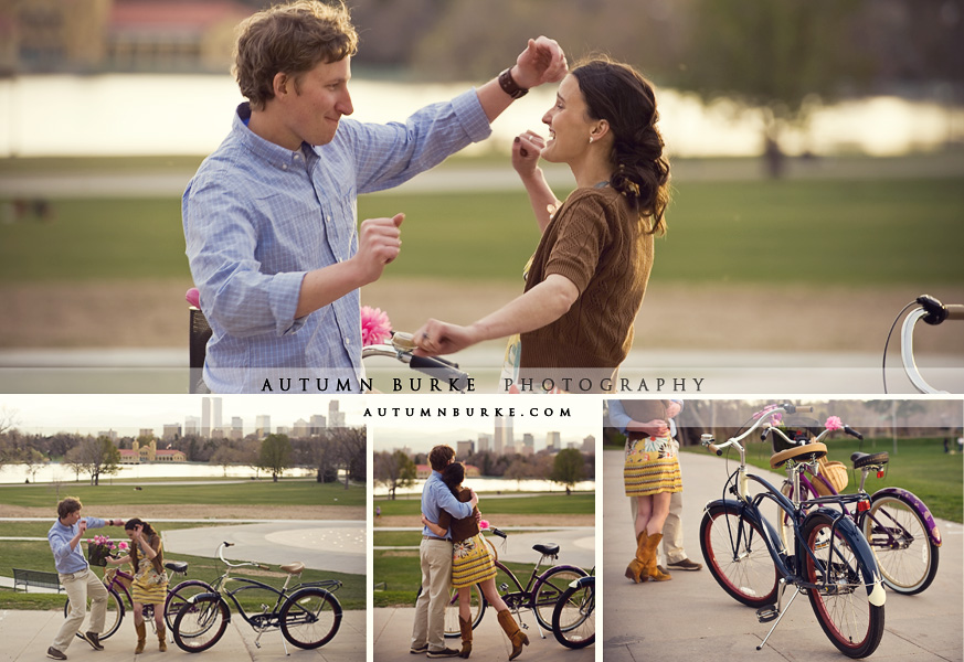 city park denver colorado fun engagement session cruiser bikes