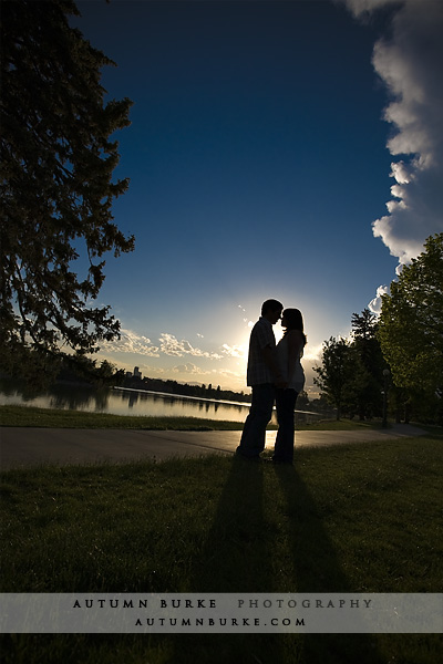 denver colorado city park sunset silhouette engagement portrait session