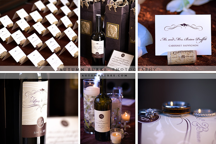 colorado mountain wedding details wine bottle table settings and favors