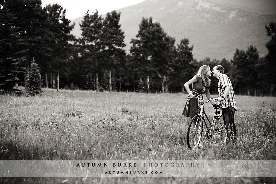 evergreen colorado mountain wedding engagement cruiser bike bicycle