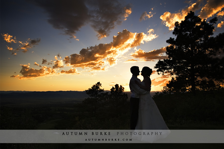 the sanctuary sedalia colorado wedding sunset silhouette