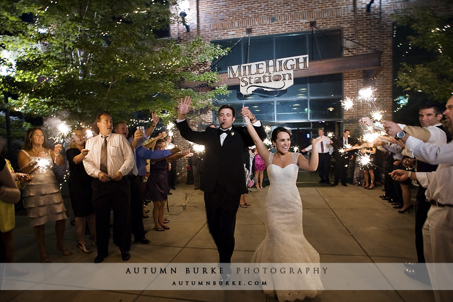 denver mile high station wedding sparkler exit departure bride groom