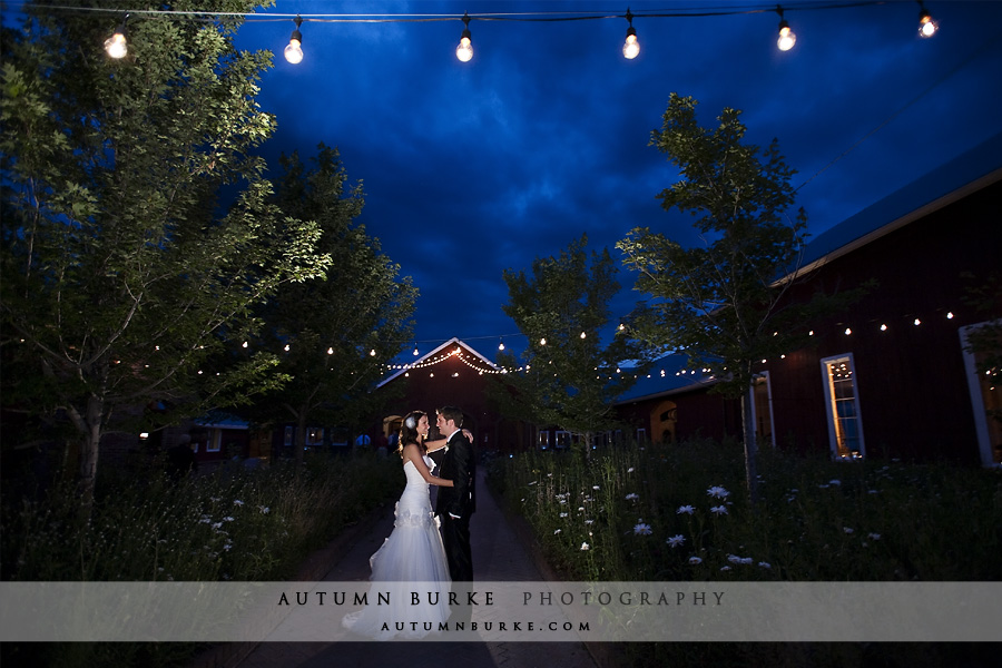 crooked willow farm wedding larkspur colorado bride groom market lights night