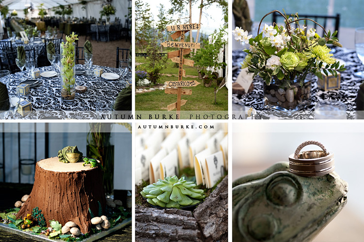 colorado mountain wedding details and decor organic natural green frogs