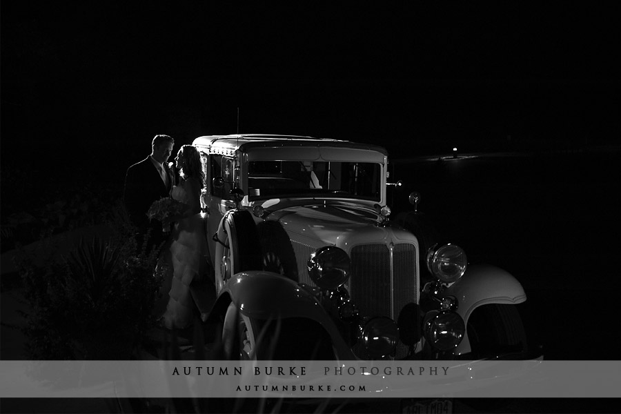 arrowhead colorado wedding vintage rollsroyce bride groom night