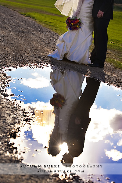 keystone ranch colorado mountain wedding bride groom puddle reflection