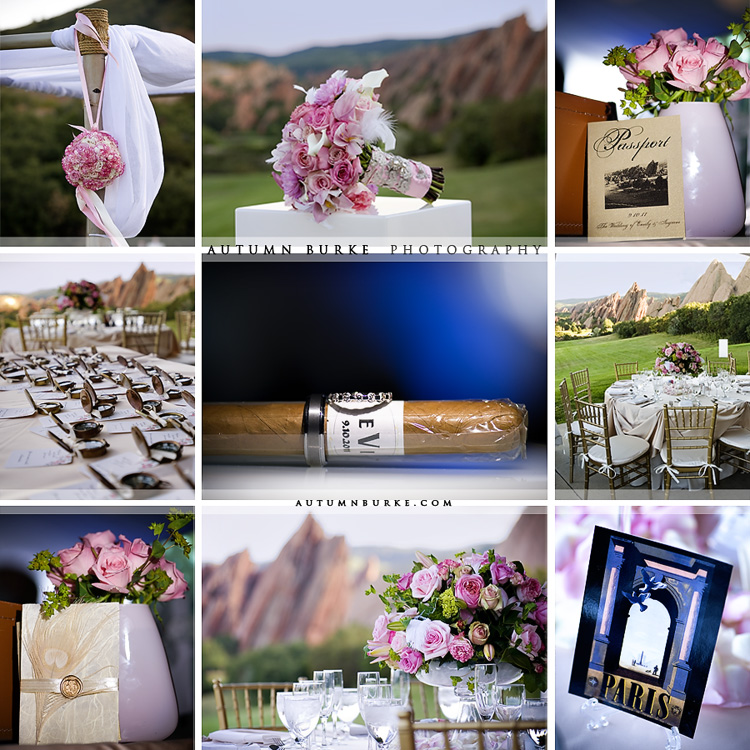 arrowhead golf colorado wedding swank stems romantic pink vintage travel wedding details