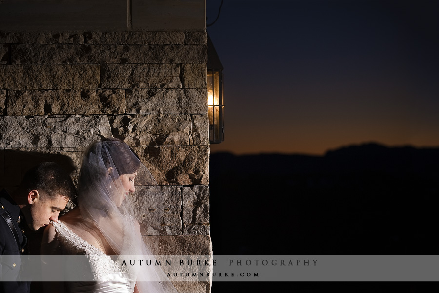 colorado wedding at the sanctuary in sedalia bride groom sunset dramatic light