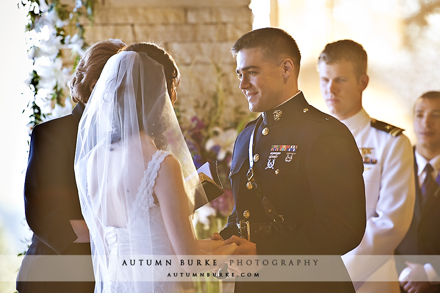 sanctuary golf colorado wedding ceremony groom marine