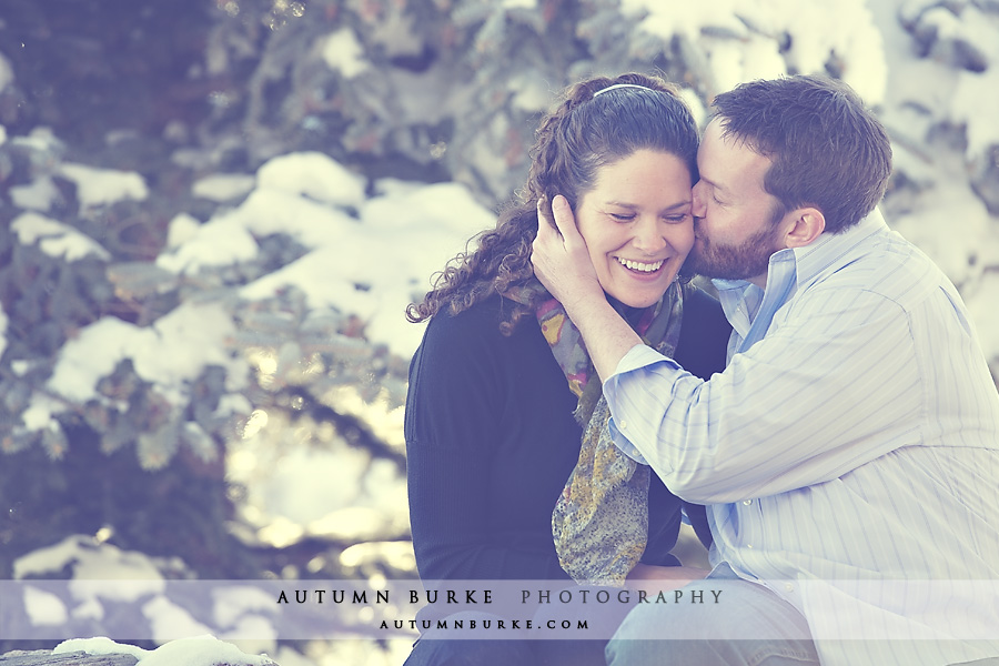 Evergreen Colorado winter engagement session snow