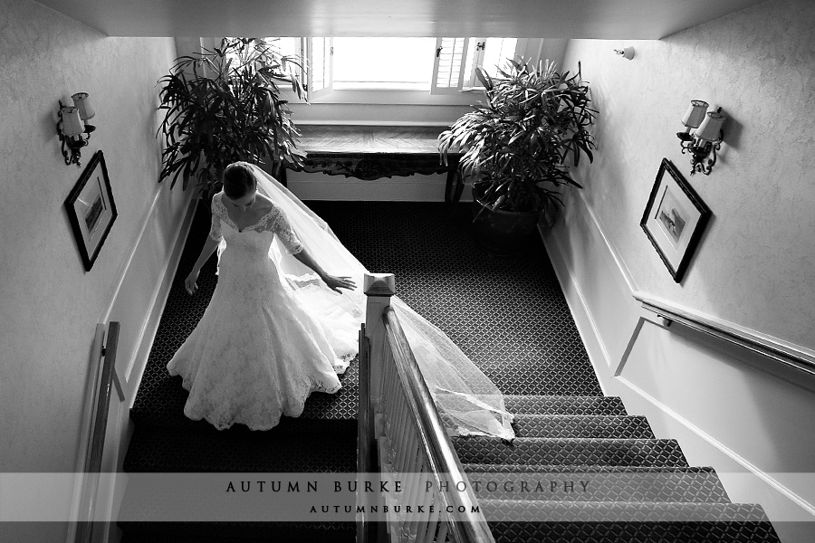denver country club wedding bride descending staircase