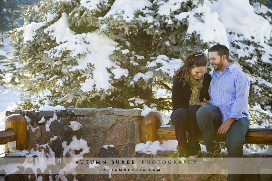 evergreen colorado snowy winter engagement portrait session