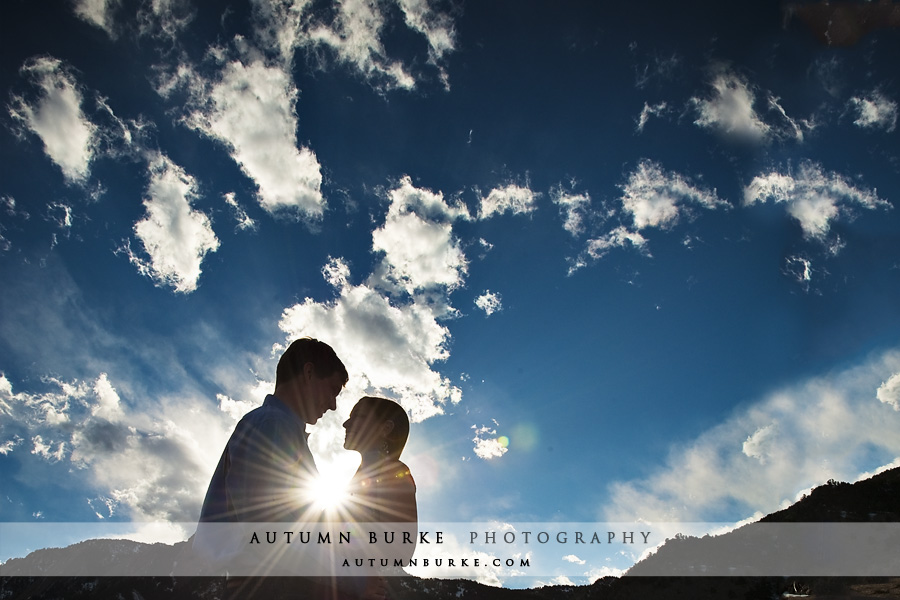 bluebird sky colorado sunburst engagement portrait session boulder