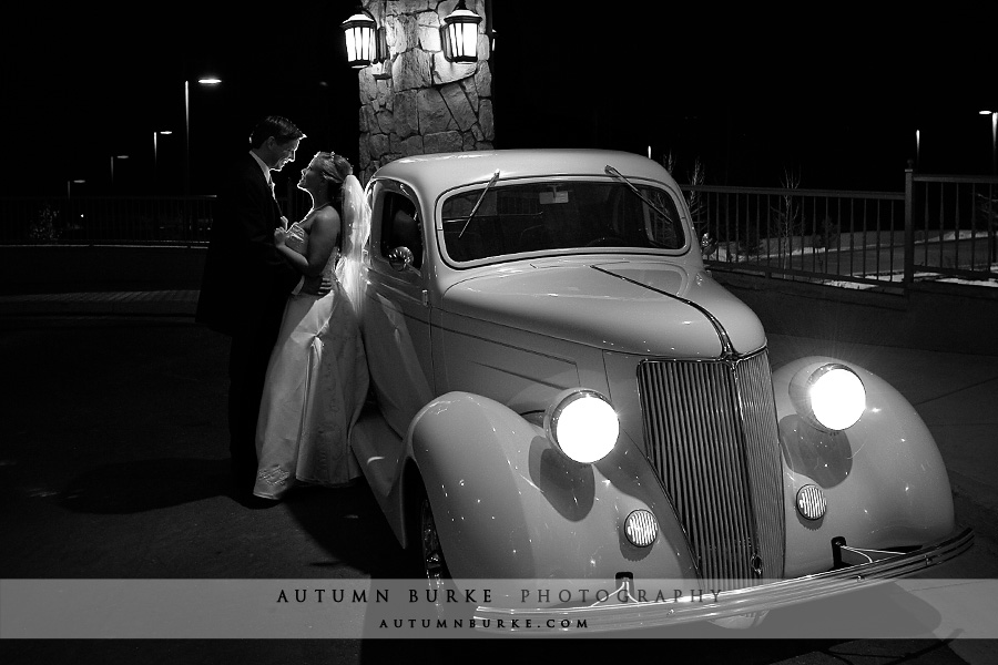 cielo castle pines colorado wedding getaway car vintage ford