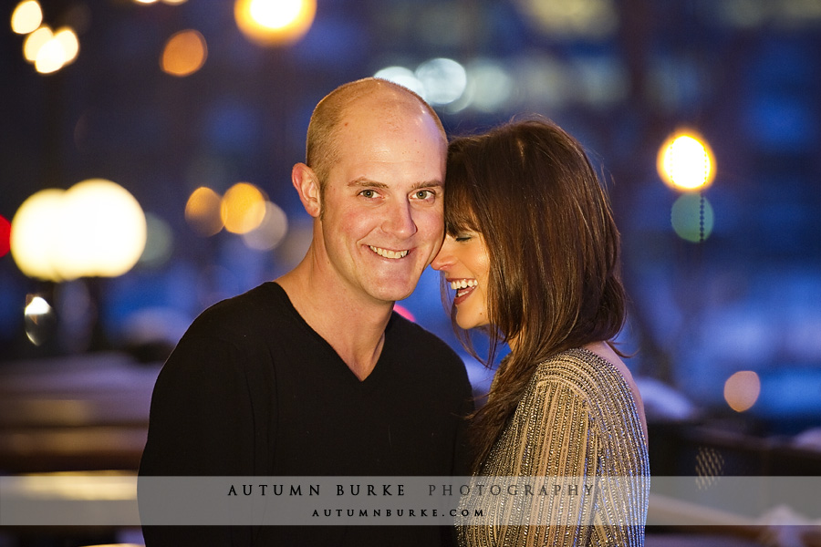 downtown denver nighttime city lights engagement portrait session