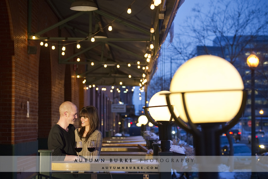 downtown denver colorado wedding engagement portrait session city lights dramatic night