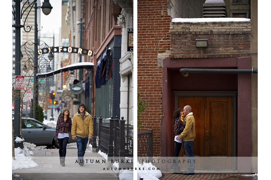 downtown denver colorado urban winter wedding engagement portrait
