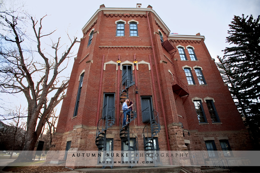cu boulder campus colorado engagement portrait session urban fire escape brick