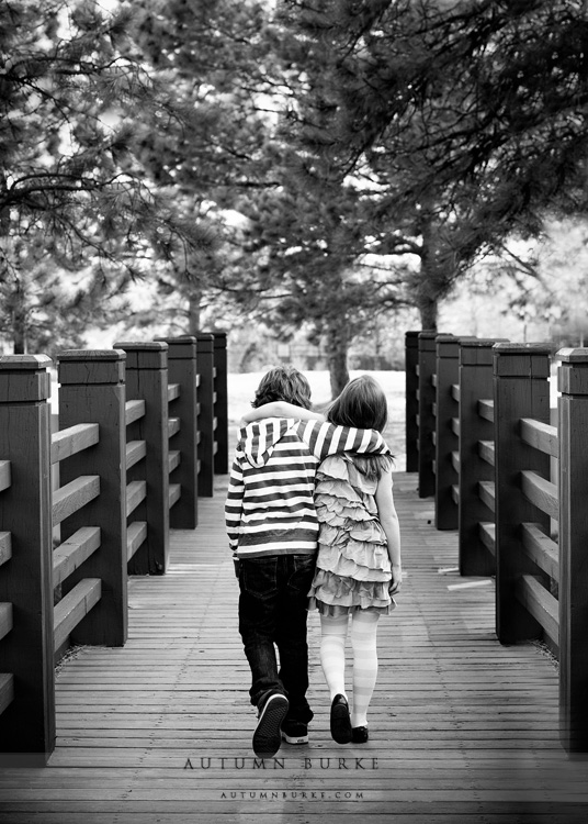 colorado children family portrait brother sister walking
