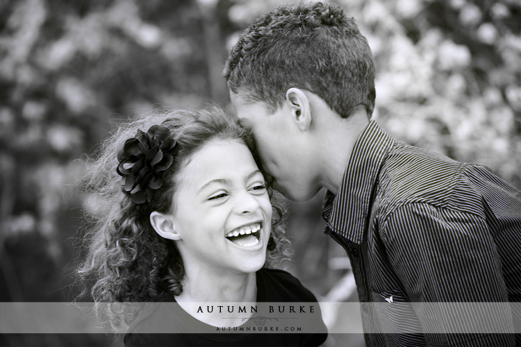 denver colorado childrens kids portrait session brother sister family laughter giggles