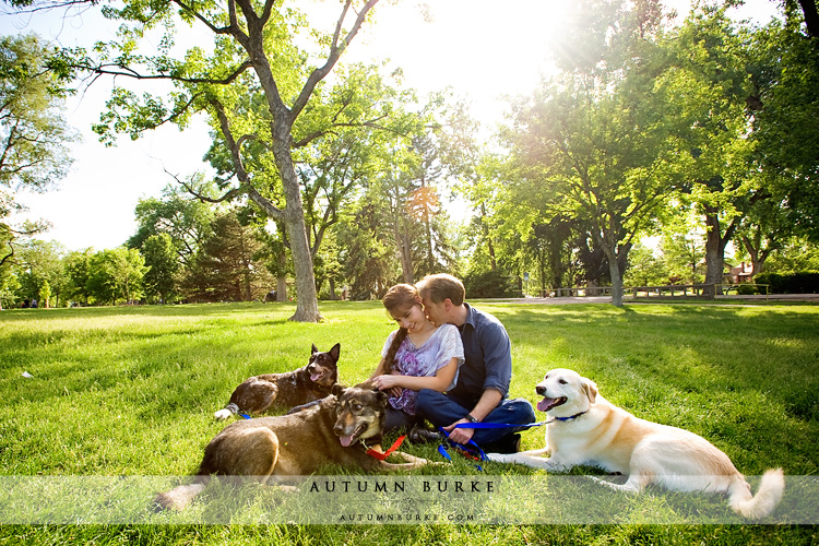 engagement denver colorado washington park portrait with dogs