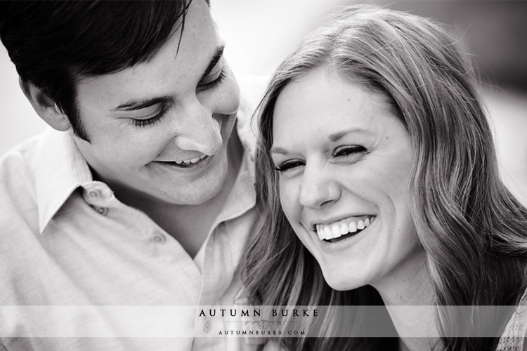 colorado wedding engagement bride and groom laughing black and white