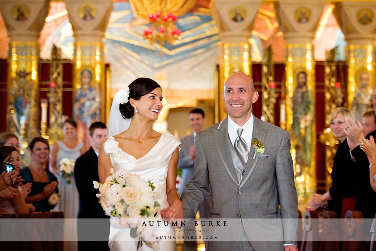just married bride and groom at the denver colorado greek orthodox church cathedral