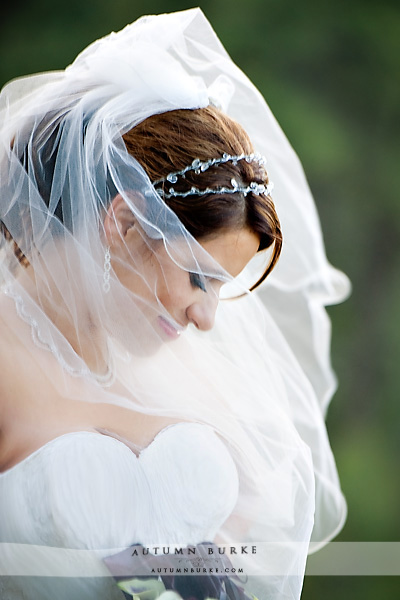colorado country club wedding bride portrait veil