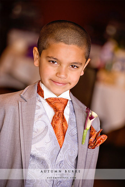 colorado wedding ring bearer boy orange tie