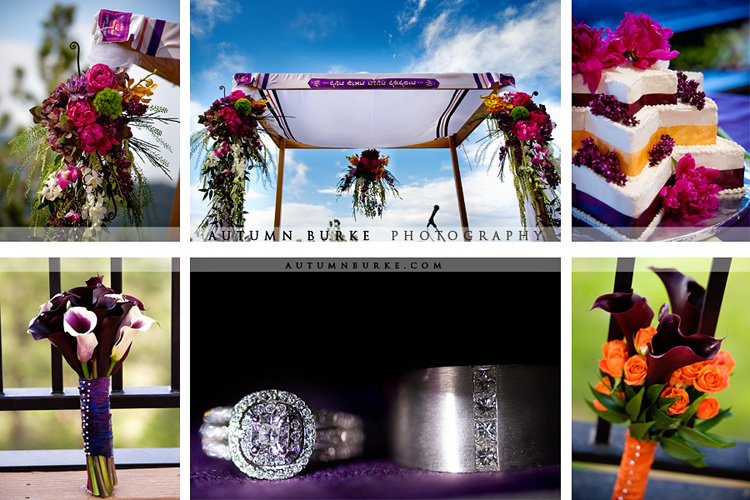rings chuppah bouquet colorado wedding details purple orange