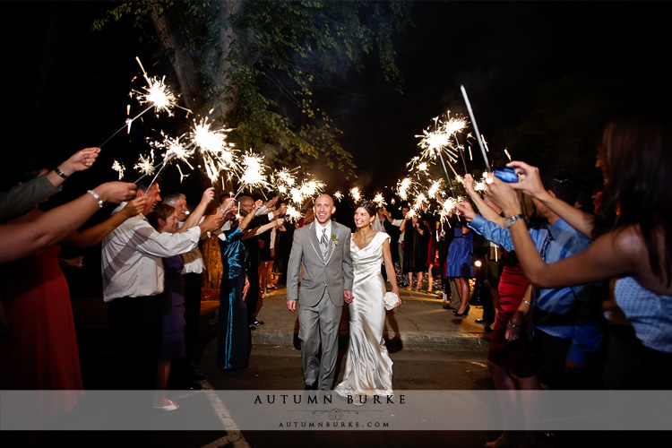 denver country club wedding colorado sparkler departure bride groom