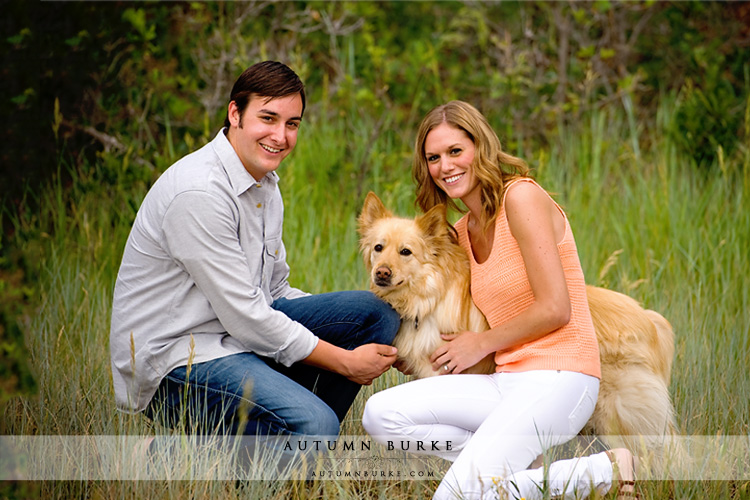denver colorado wedding engagement couple with dog